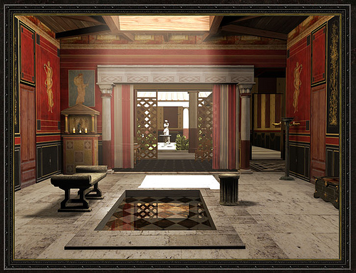 Atrium wealthy roman house for Roman style home design